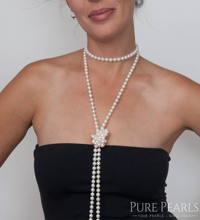How to Wear a Pearl Rope: Playful Double Knots