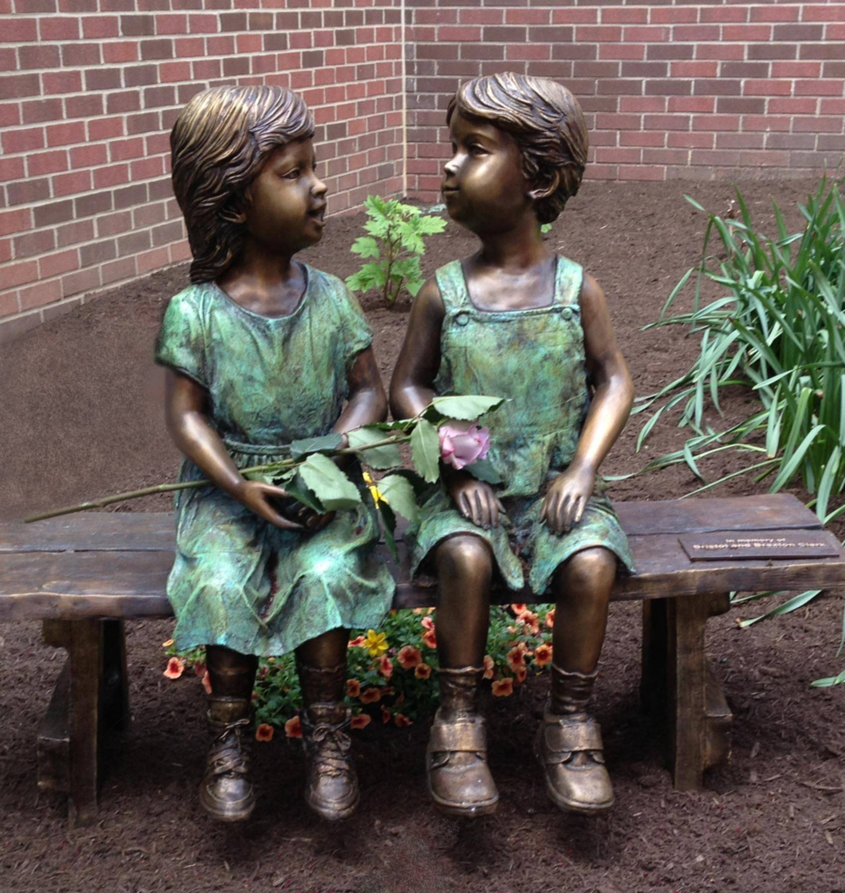 Bronze Children Garden Statues on Bench