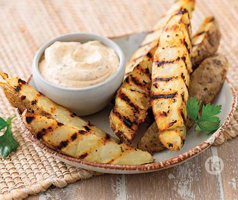 asian garlic grilled potatoes