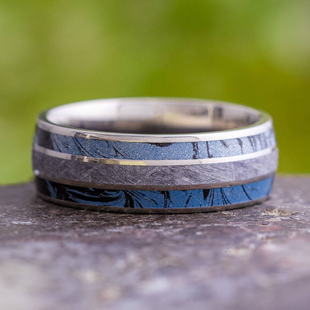 Meteorite and Mokume Ring