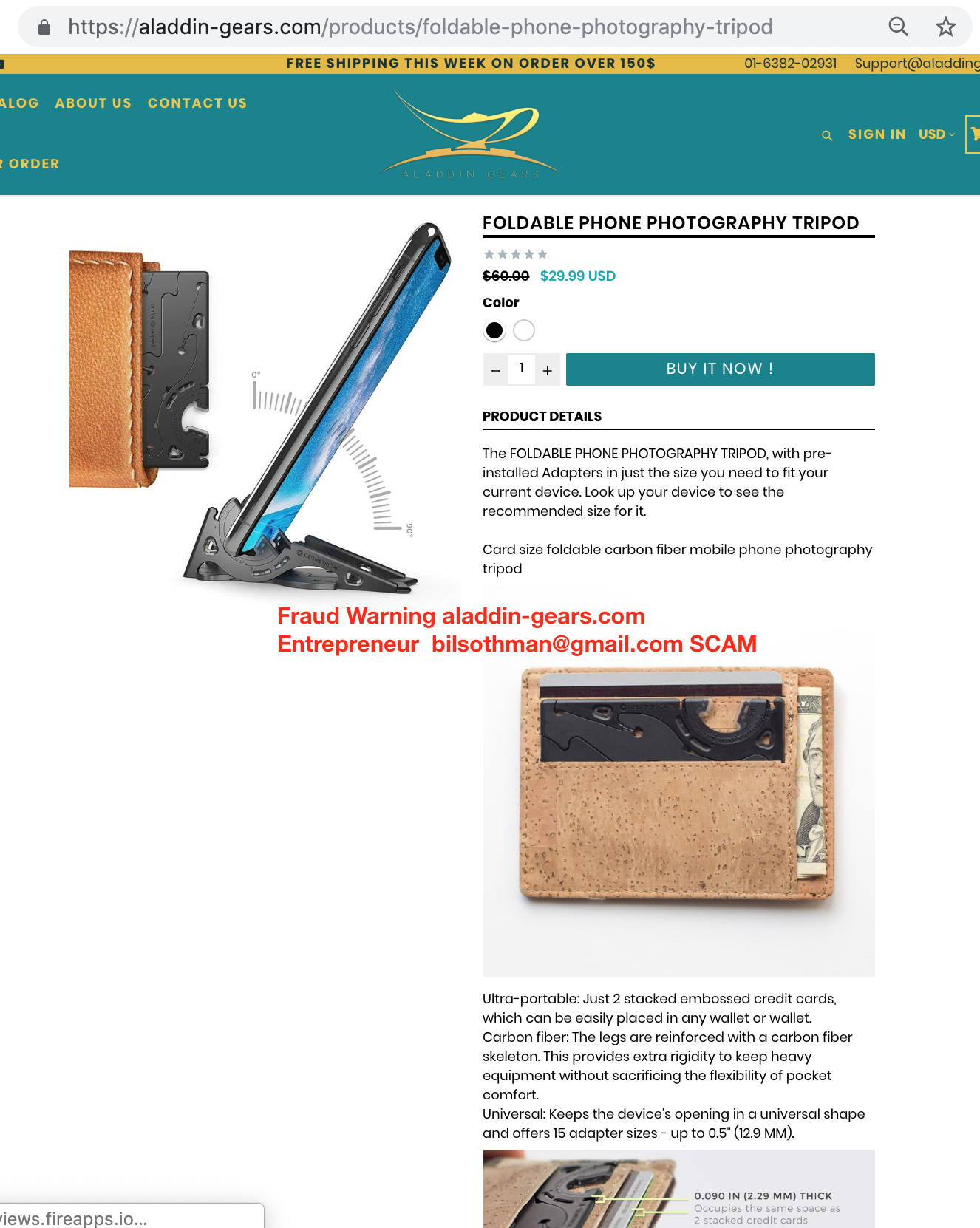 Fraud Warning aladdin-gears.com Entrepreneur  bilsothman@gmail.com SCAM