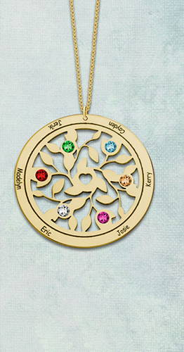 Gold Tranquility Tree of Life Personalized Jewelry