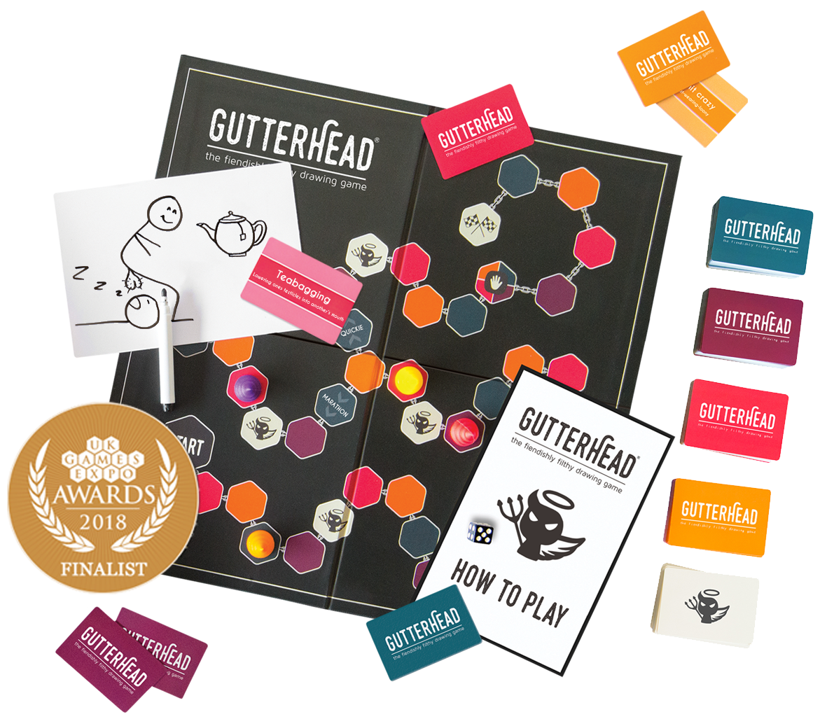 Gutterhead best adult party game with drawing and playing cards
