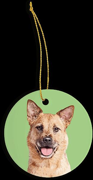 green christmas ornament custom made with dog
