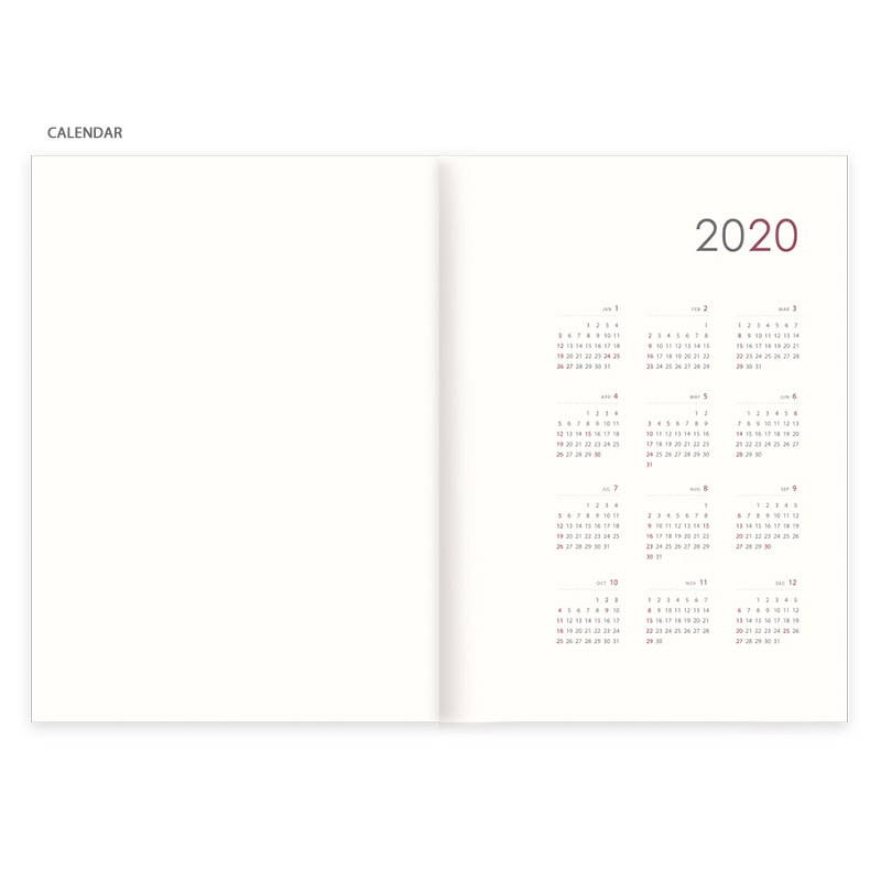 Calendar - Eedendesign 2020 Hello month B5 dated monthly planner