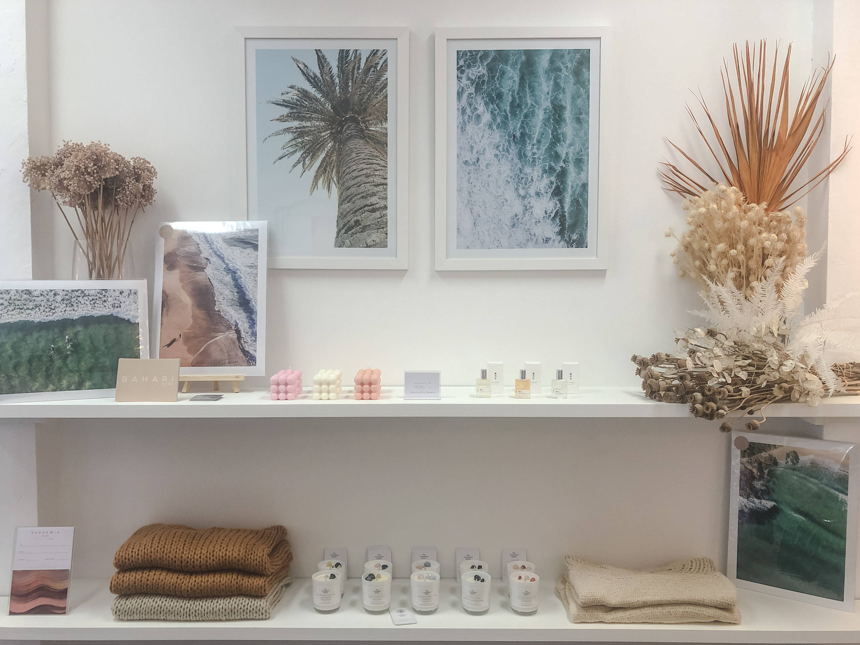 Beach Drone Photography Prints for the home by Jemma Darling.  Avaliable instore at Euphemia The Label Newcastle Australia