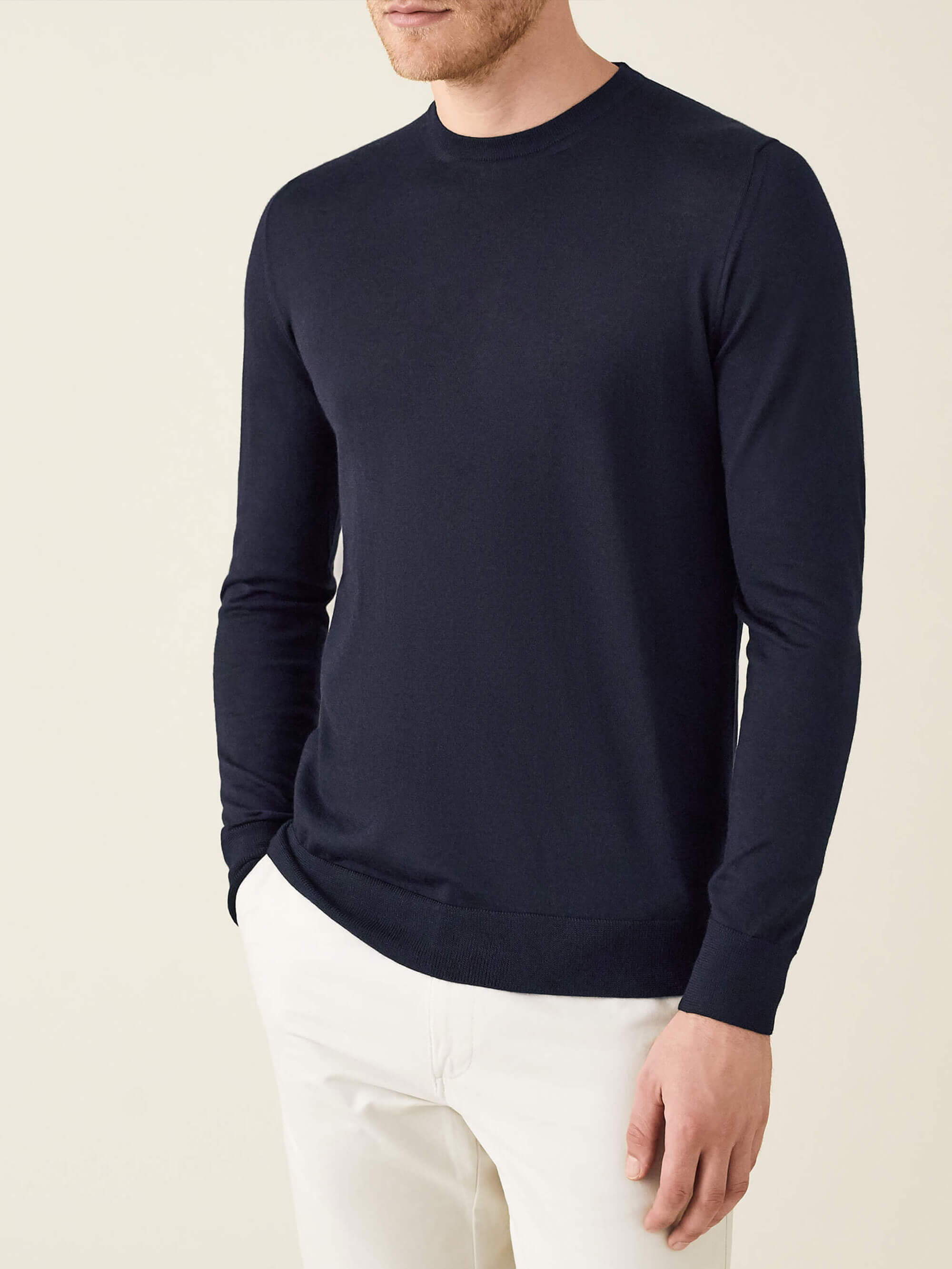 Navy Silk Cashmere Crew Neck