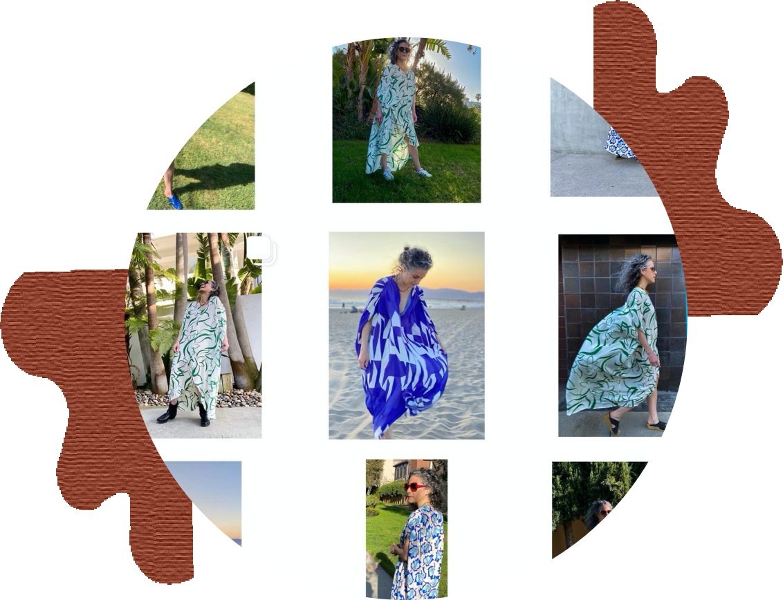 circle containing 9 square grid screenshot of under the muumuu's instagram page surrounded by abstract brown shapes