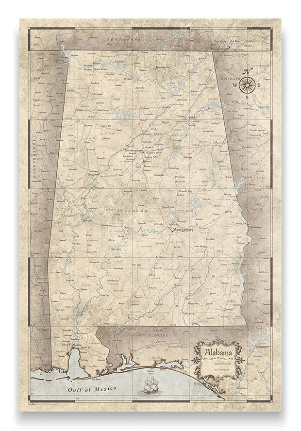 Alabama Push pin travel map rustic vintage