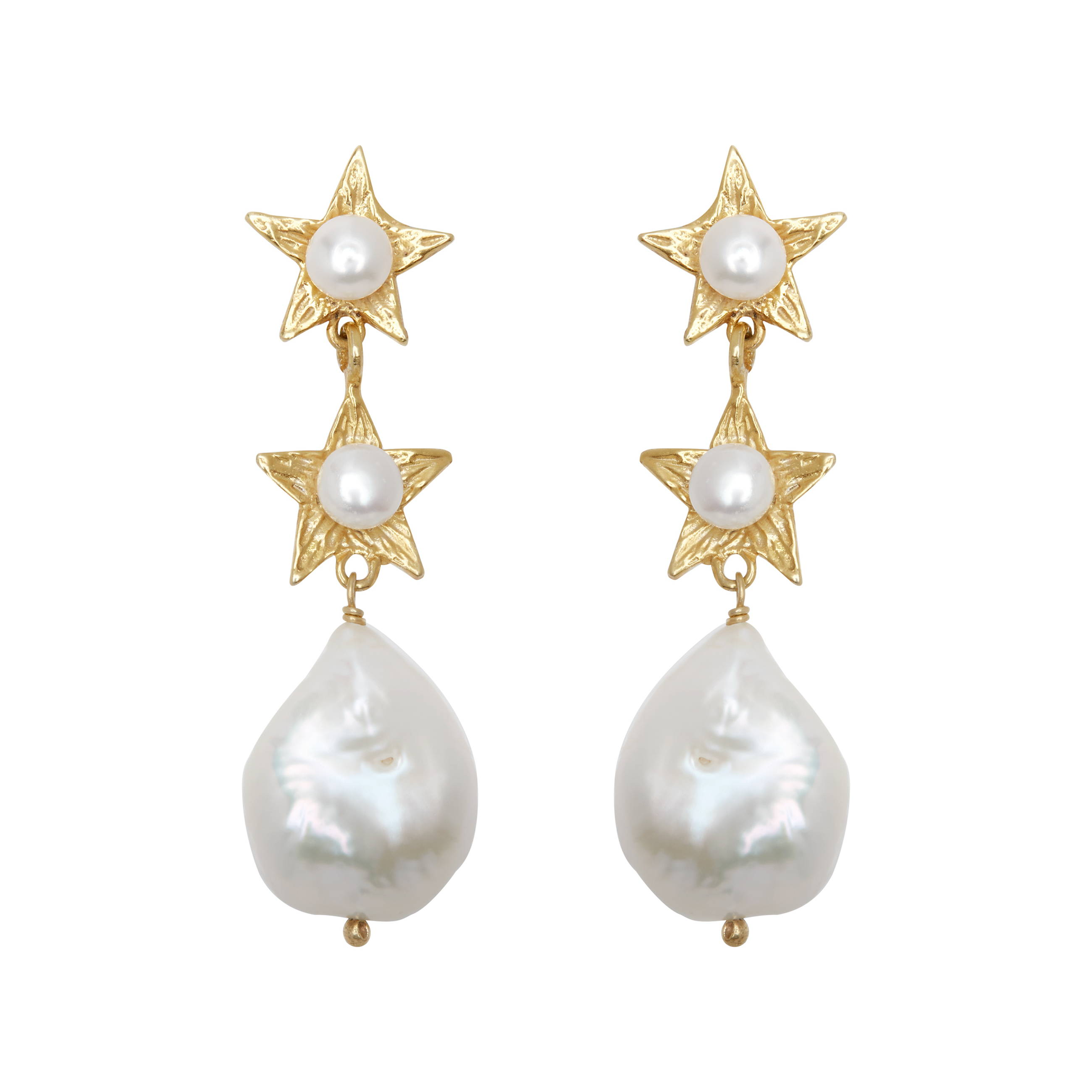SORU ELECTRAI PEARL STAR GOLD EARRINGS