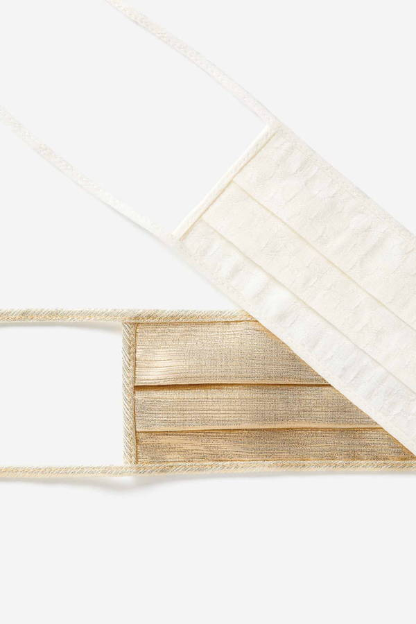 Galvan London Cotton Face Masks white and gold