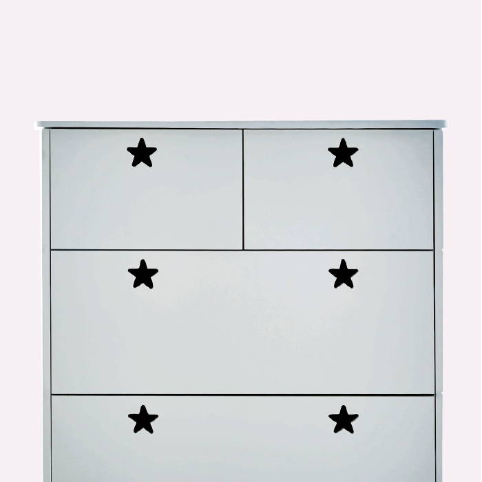 Grey chest of drawers with star-shaped handles