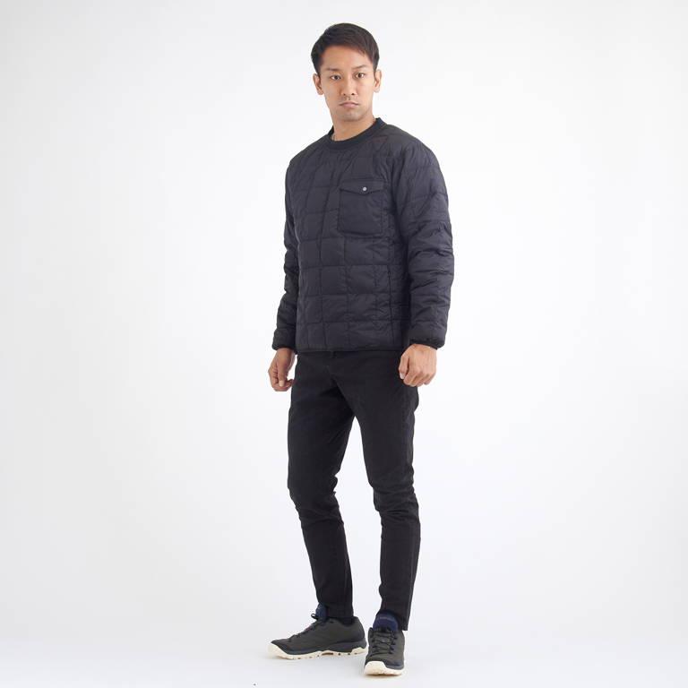 TAION(タイオン)/プルオーバークルーネックダウン/ブラック/UNISEX