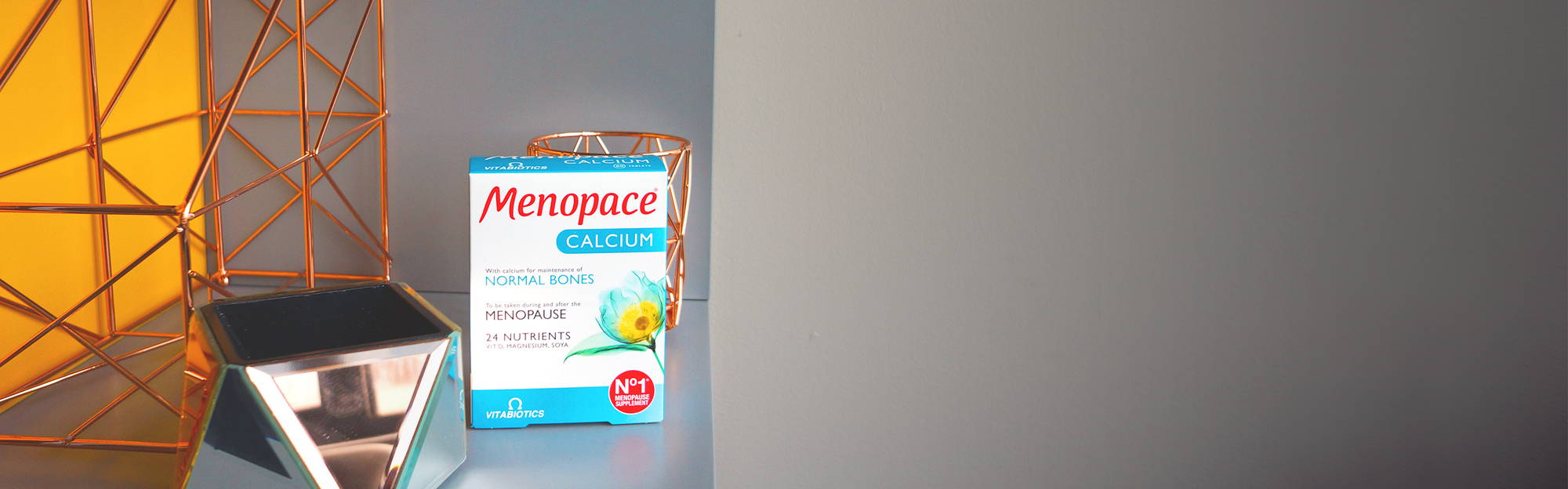 As oestrogen levels decrease, bone density can do the same. Menopace Calcium includes nutrients for bone health, including calcium and vitamin D.