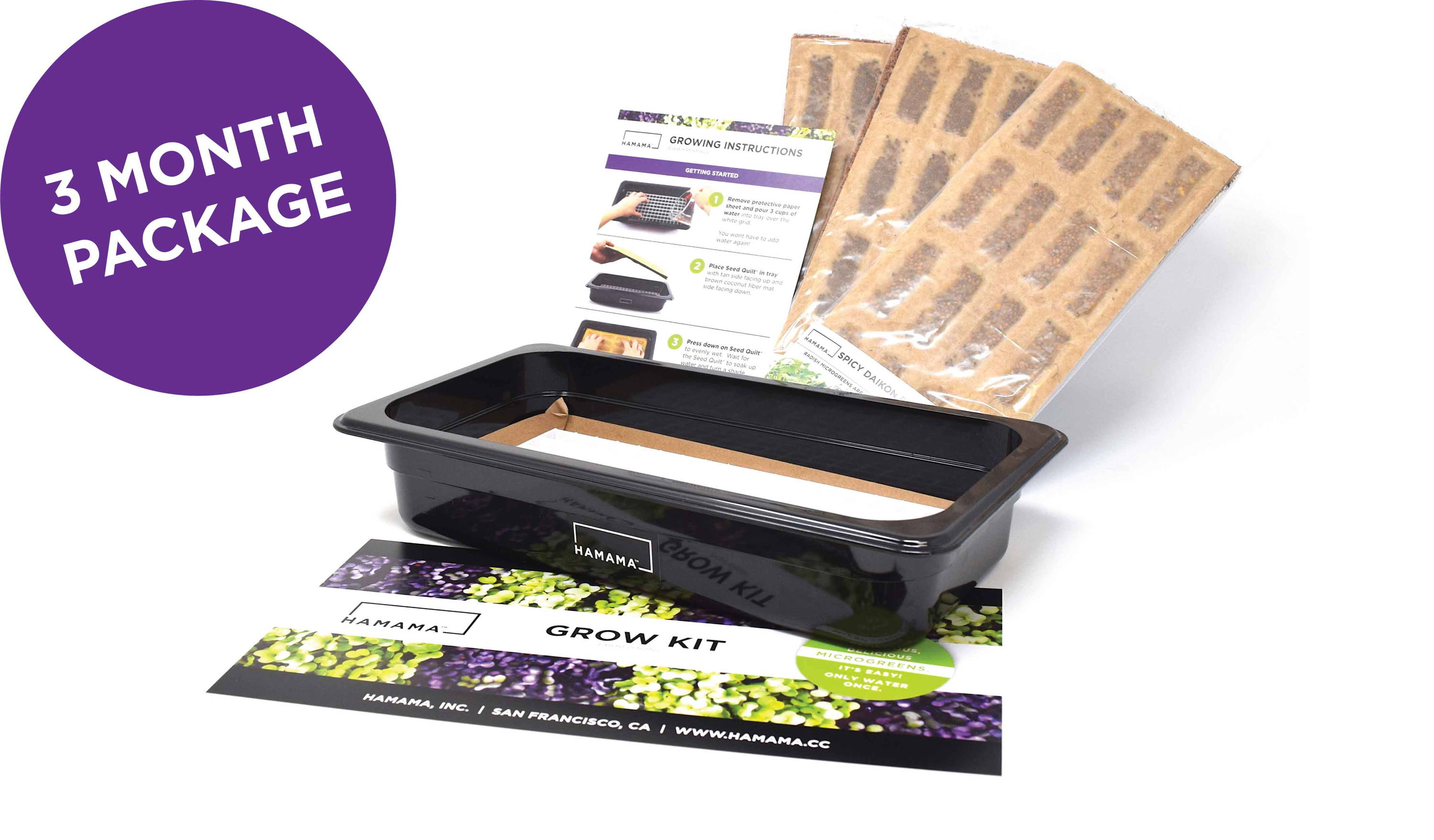 Three month gift Grow kit bundle for growing microgreens at home year round.  Includes grow tray, instructions, and nine Seed Quilts, enough for three months of growing.