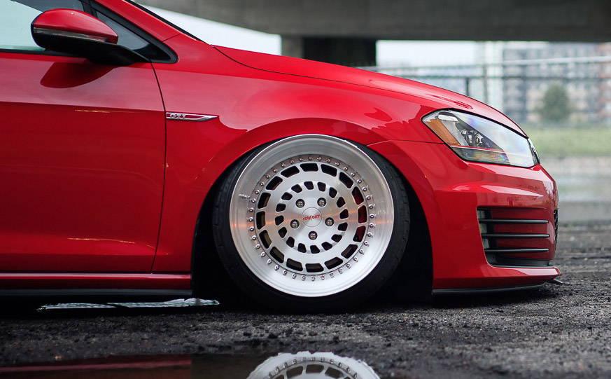 Wheel on Red Volkswagen
