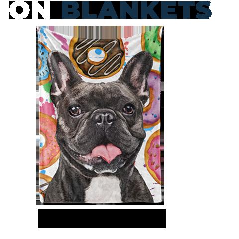 French bull dog art on fleece blanket