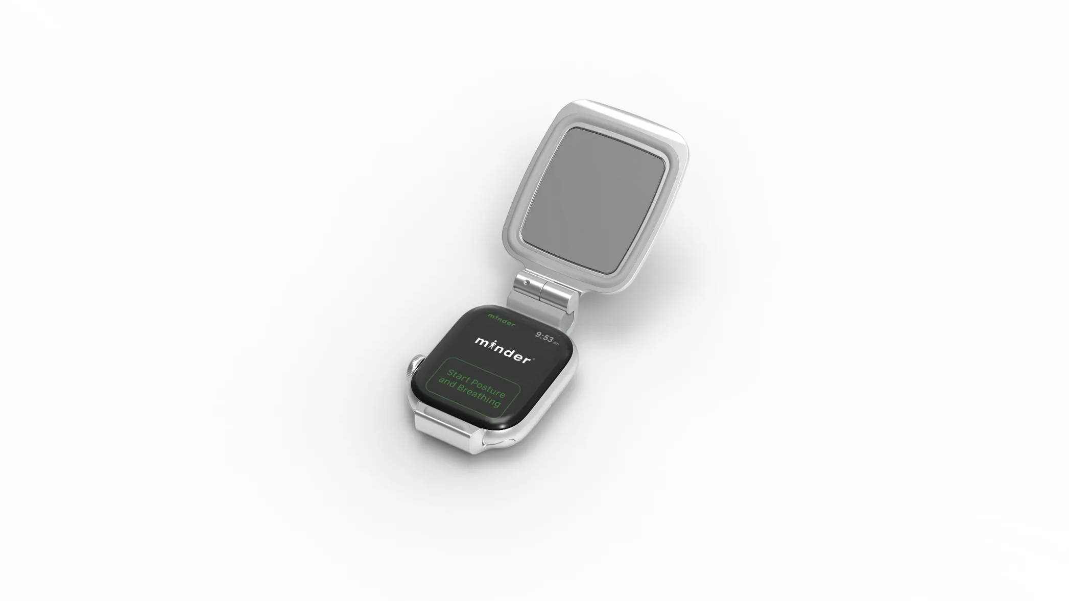 minder clip attached to Apple Watch