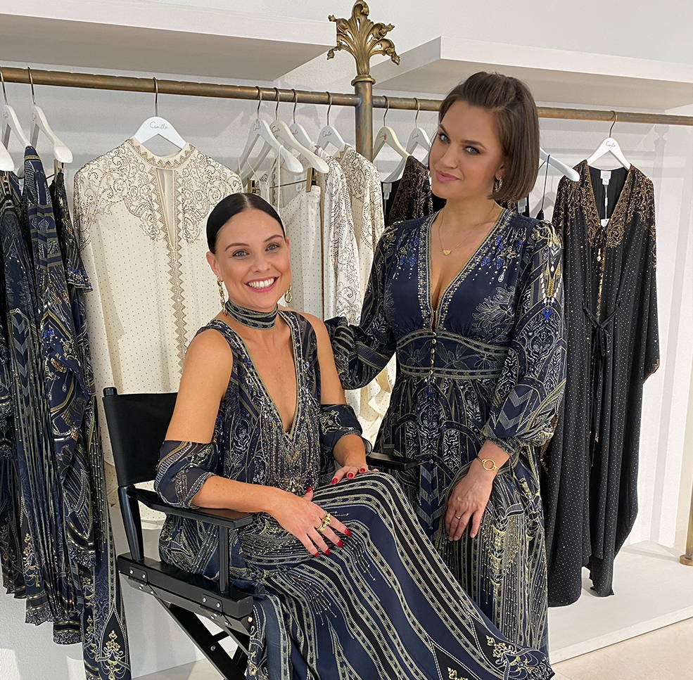 CAMILLA In-house Stylists in Great Scott collection; blue, gold and embellished printed dresses.