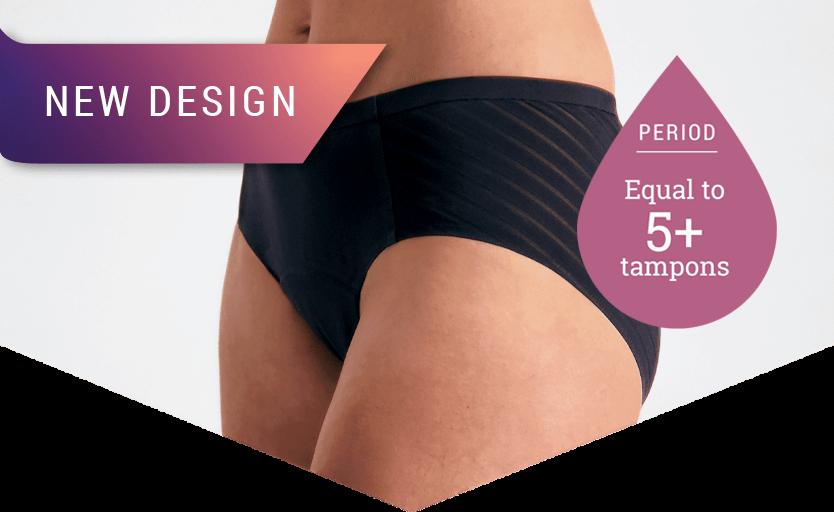 Stripe Midi Briefs - Everyday Absorbency underwear - Just'nCase by Confitex