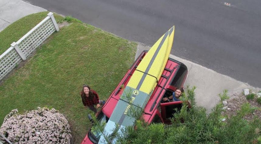 Viper pau hana paddle board on the car