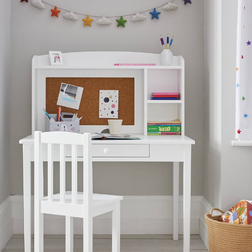 Kid's desk and chair in white