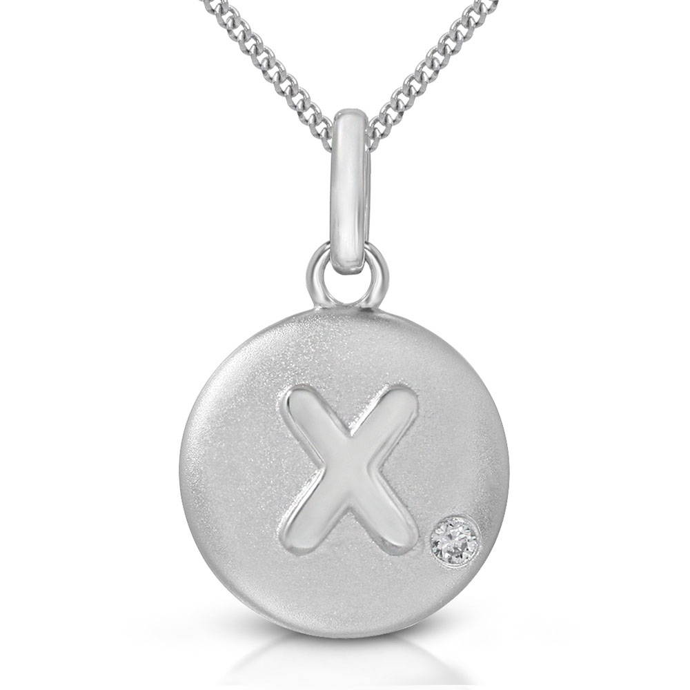 Pure at Birth letter X pendant with curb link necklace