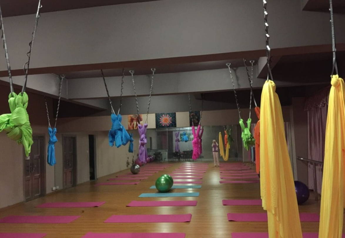 aerial yoga studio set up