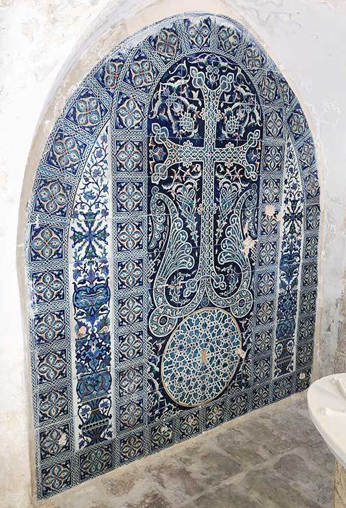 An intricate khatchkar design painted on ceramic tile by my grandfather,