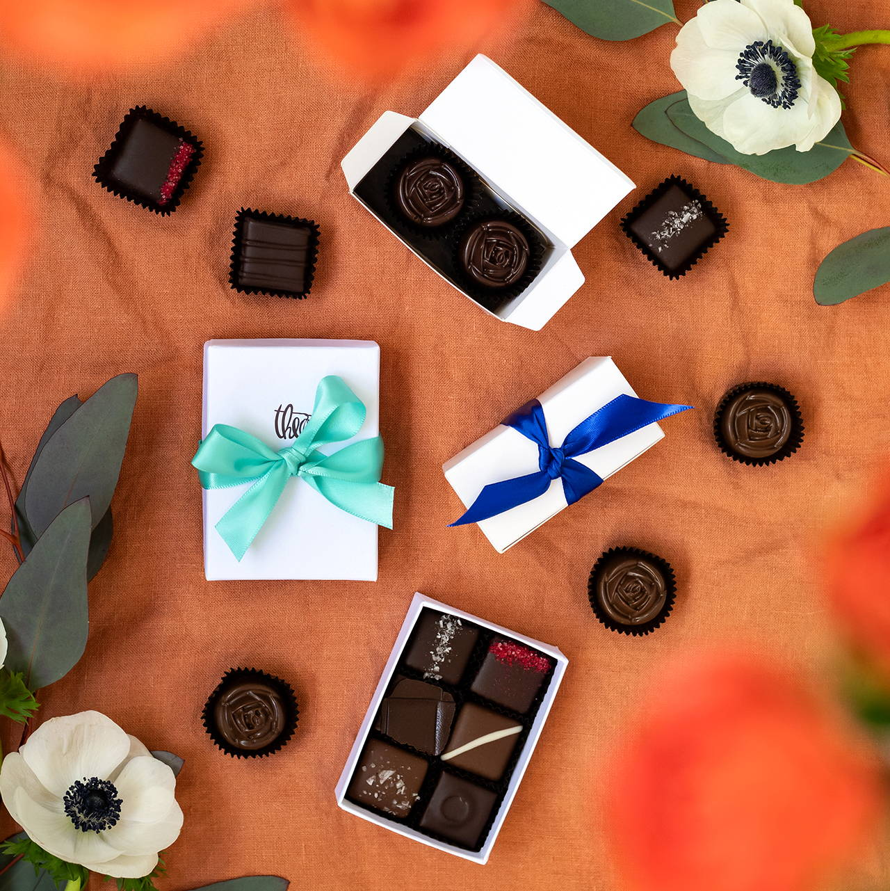 Assortment of handmade confections in custom favor boxes.