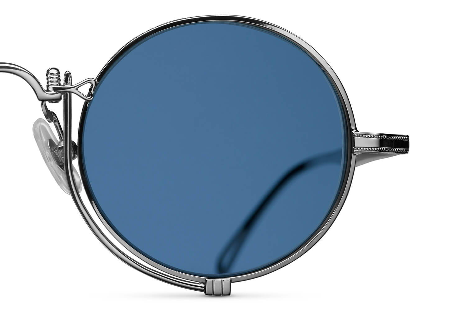 Matsuda Heritage 10601H in Palladium White with Cobalt Blue Lenses