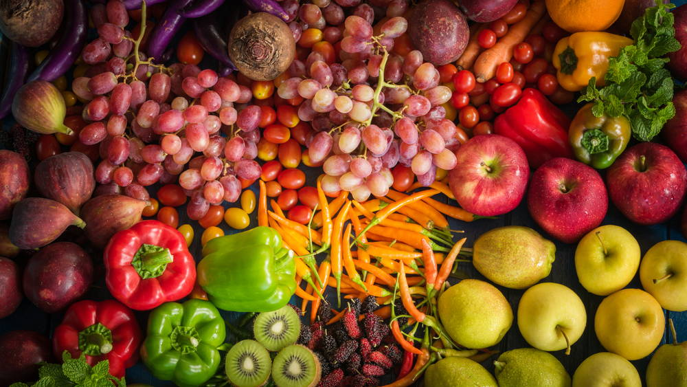 A Selection Of Fruit And Vegetables