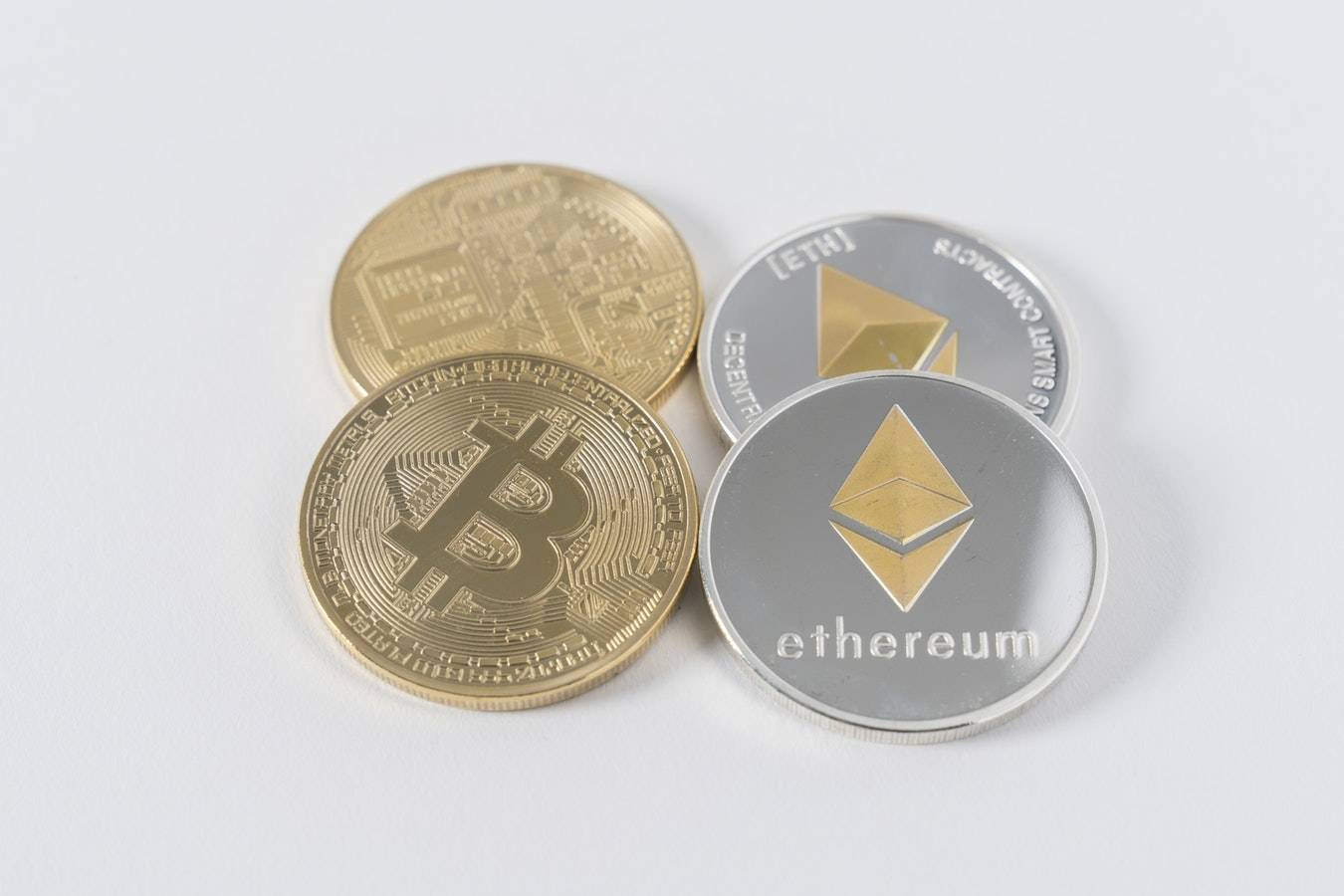 Gold and silver bitcoin and ethereum coins
