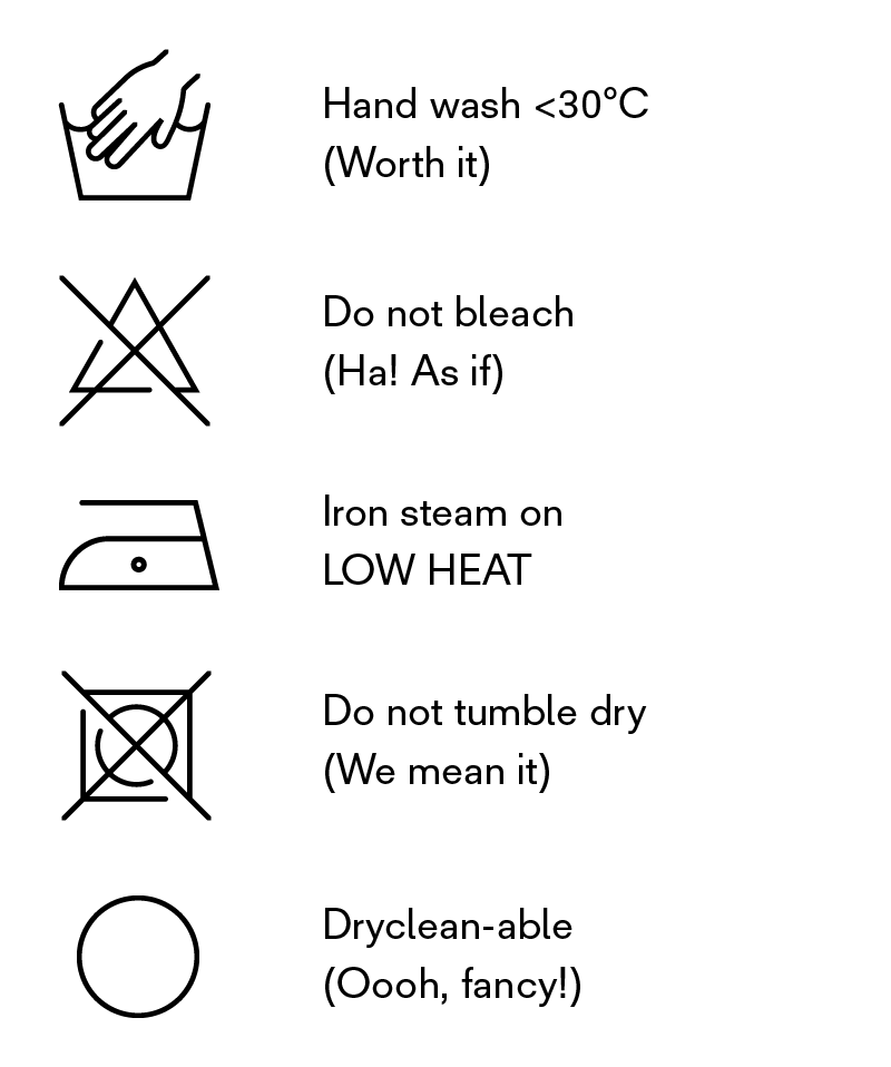 Garment care instructions