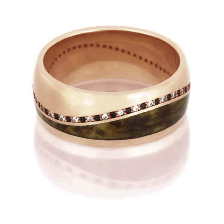 Rose Gold and Wood Eternity Band
