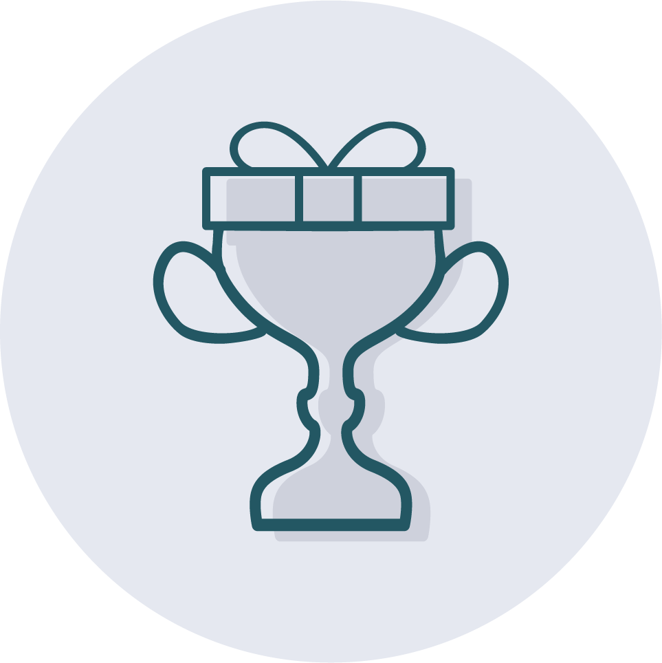 Icon of a trophy gift for motivation.