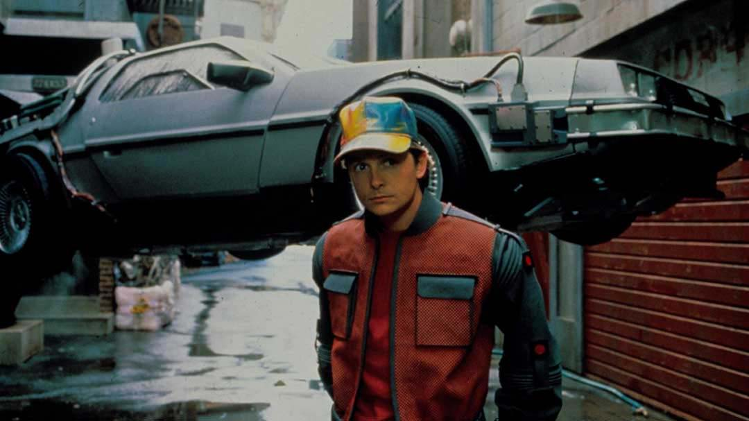 Back to the future wearing cap