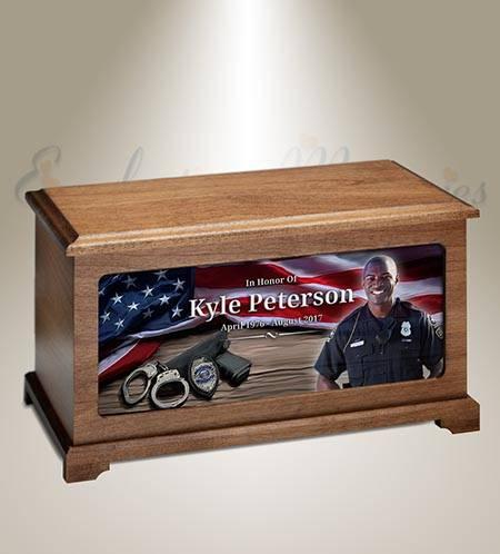 Policeman Photo Memorial Urn
