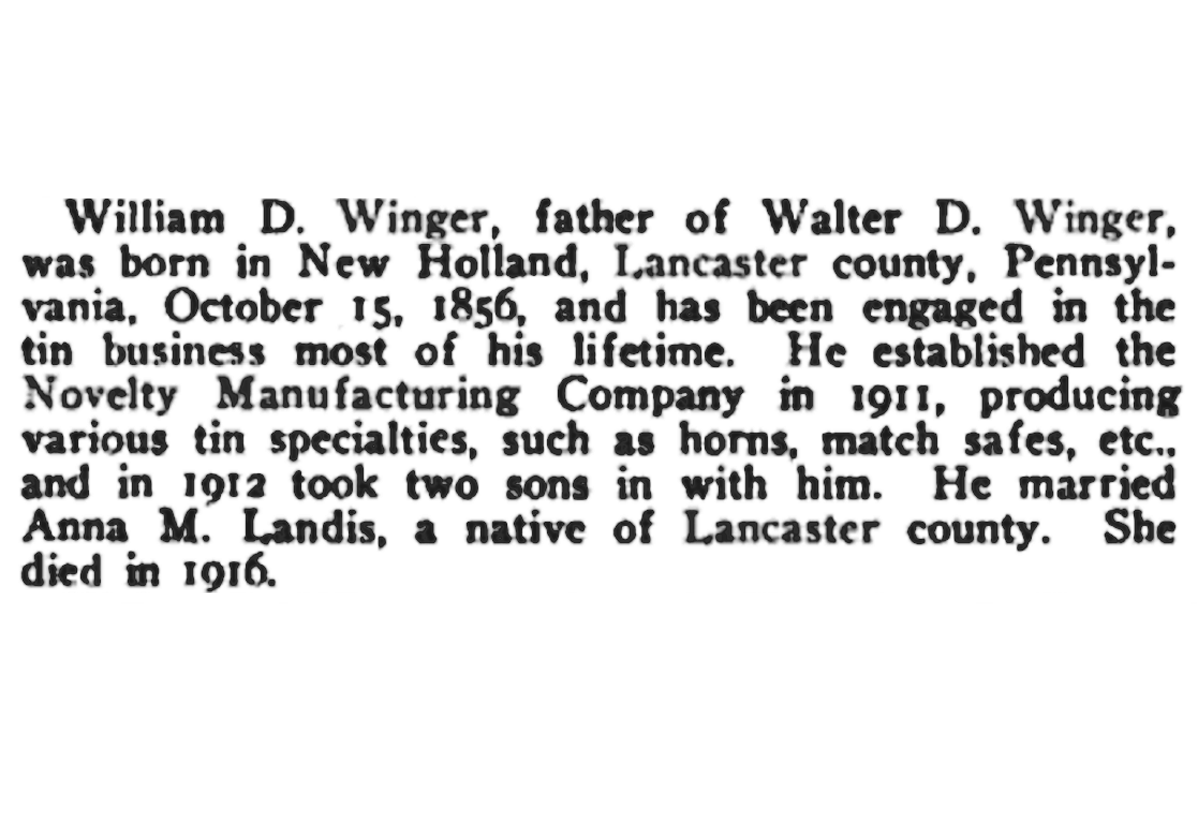 Newspaper article about William D. Winger
