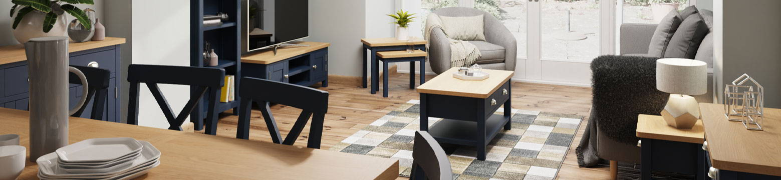 Blue Painted Dining Room Furniture