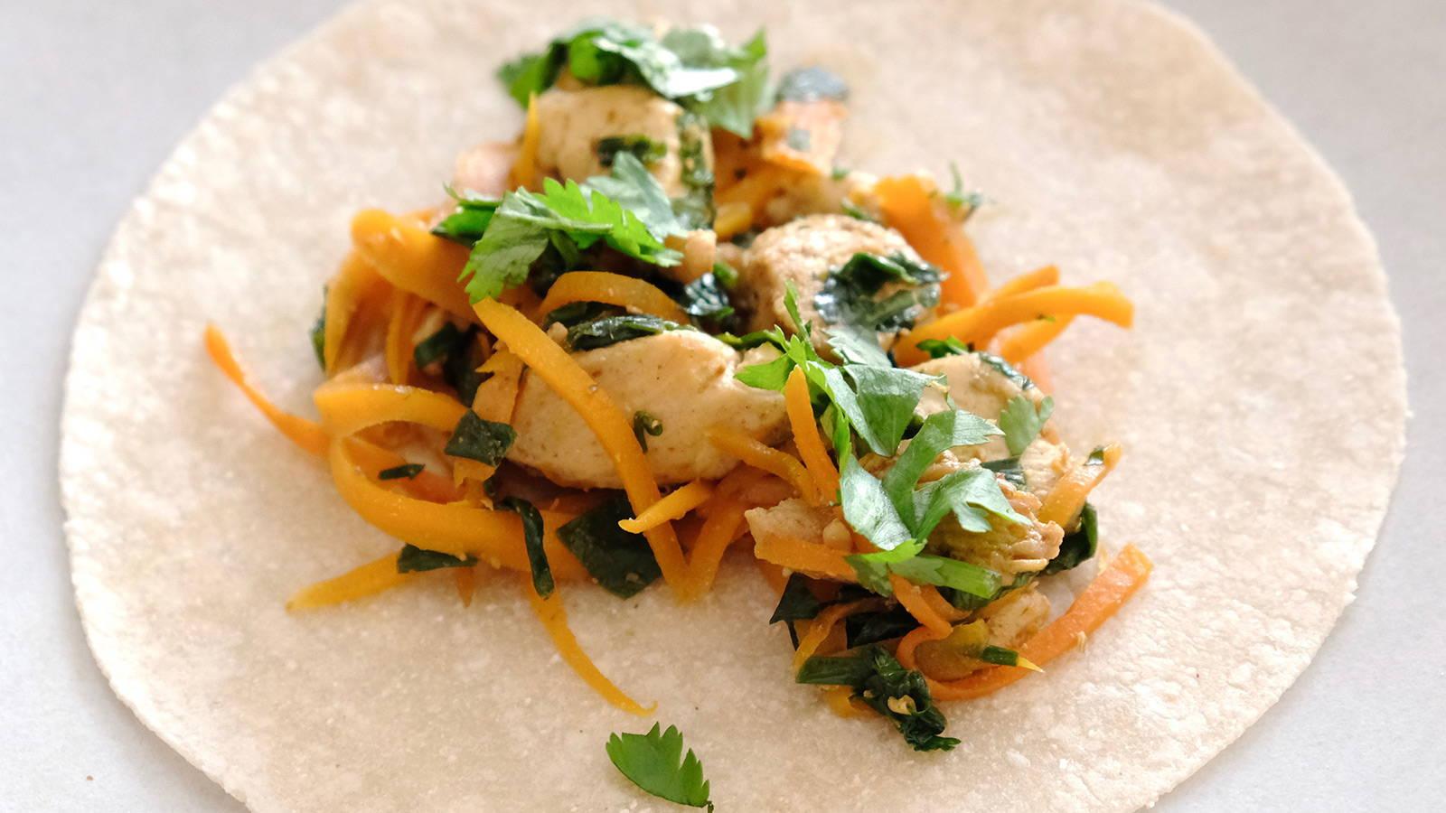 Indian-Spiced Low FODMAP Chicken Tortillas