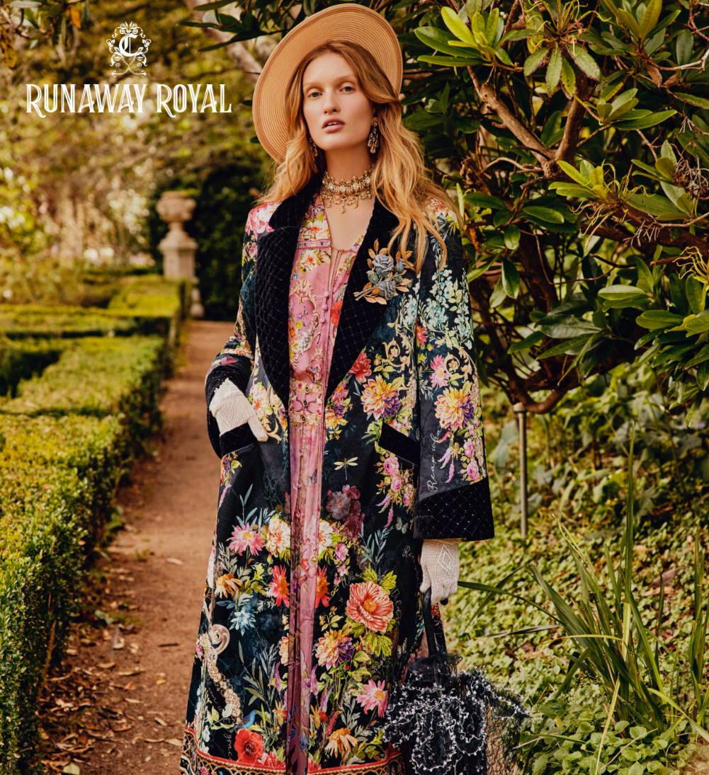 CAMILLA Coat, CAMILLA jacket, CAMILLA pink floral blouse, CAMILLA black floral jacket
