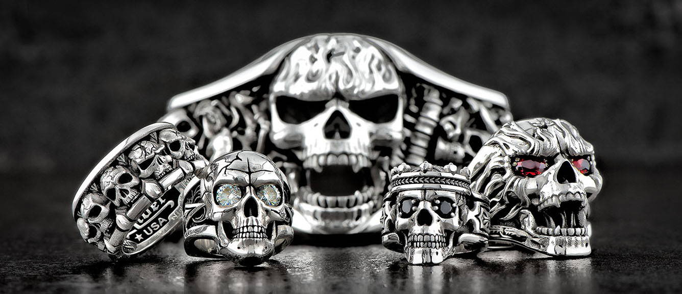 A Collection of Skull-Themed Silver Jewelry by NightRider