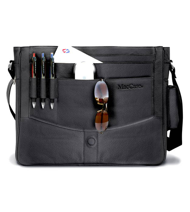 Classic black leather messenger bag by MacCase