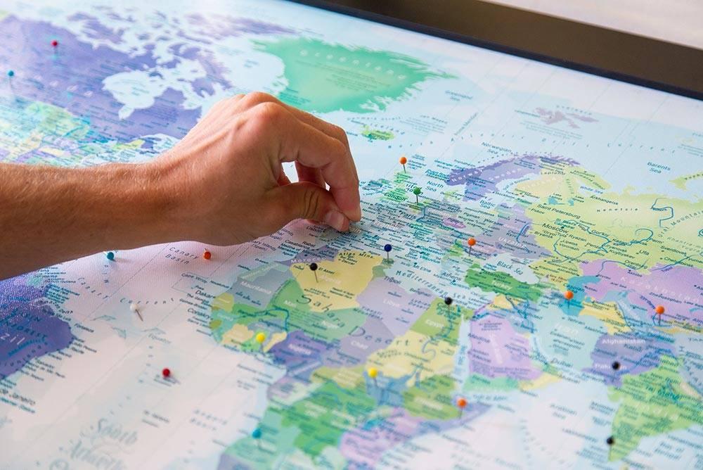 world push pin travel map
