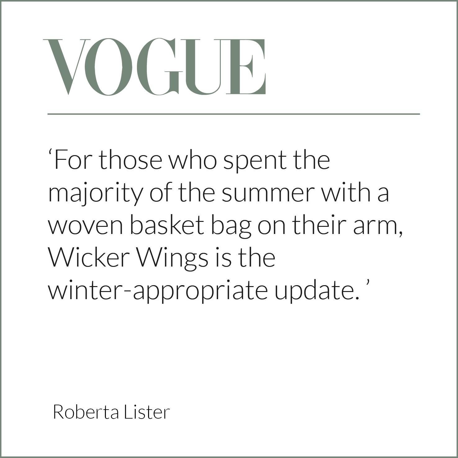 Vogue, Press Release, Wicker Bag, Rattan Bag, Eco Friendly Bag, Wicker Wings, Wicker Wings Bag