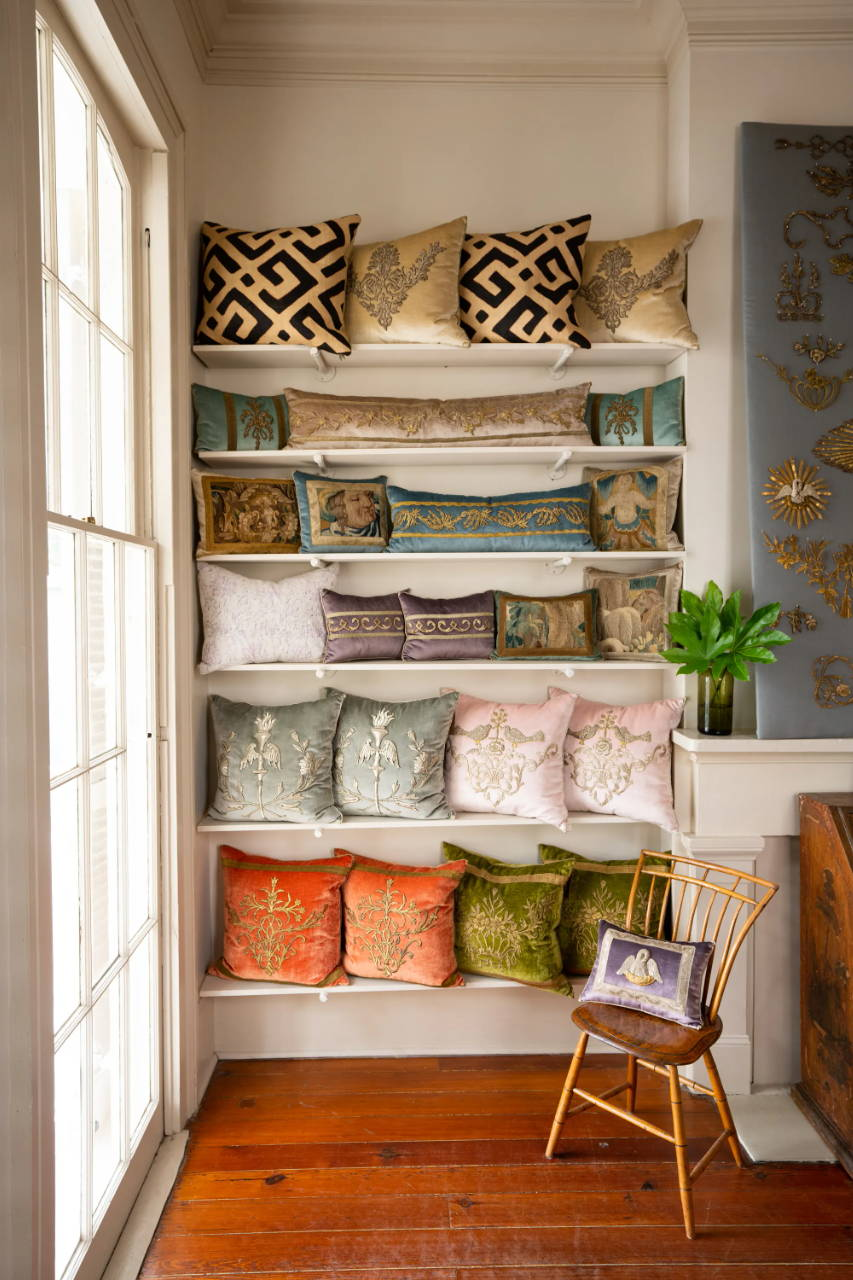Vintage and antique textile B. Viz Design pillows inside B. Viz Design NOLA Atelier on beautiful Magazine Street in New Orleans, LA.