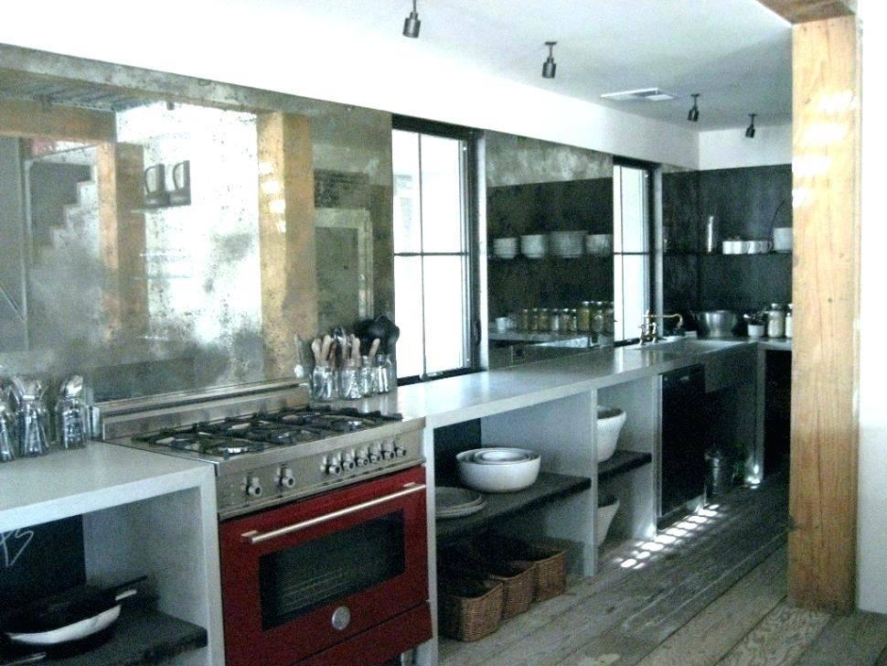 Distressed mirror kitchen backsplash