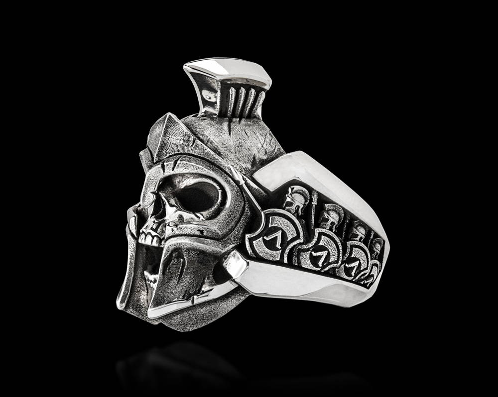 Thermopylae Spartan Warrior Silver Skull ring, Triquarter View