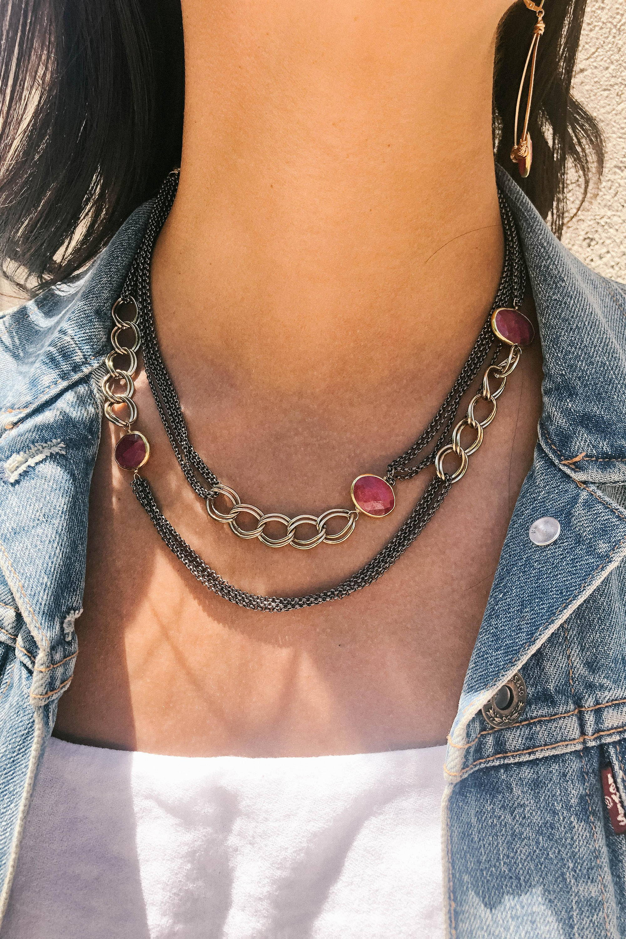 Ruby Mixed Metal Antique Long Necklace